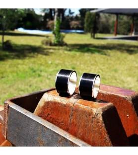 Set alianzas 12 mm en plata 925 y madera de ébano - settorrente