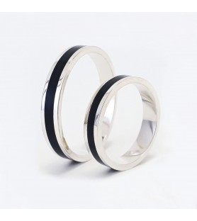 Set alianzas de boda plata 925 y madera de ébano 4mm