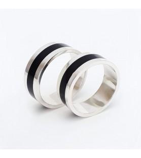 Set alianzas de boda - Plata 925 y madera de ébano - 8mm - setselva