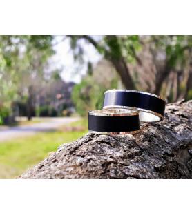 Set alianzas de boda 8 mm en plata 925 y madera de ébano - SETETER