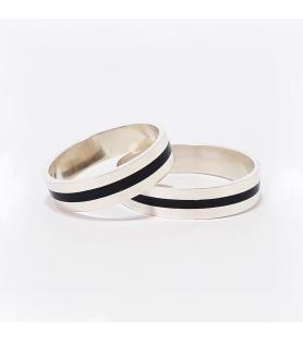Set alianzas boda 6 mm en plata 925 y madera de ébano - setflor