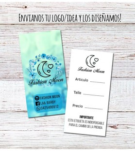 Etiquetas Para Ropa DOBLE FAZ / 100 Unidades