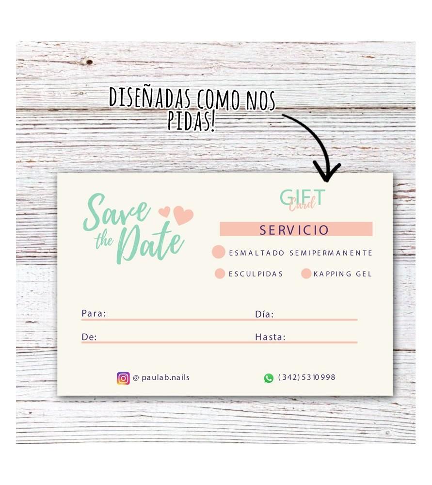 Gift Cards / 80 unidades (DISEÑADAS A TU GUSTO)