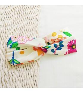 Turbante vincha Flores Crudo