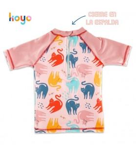 Remera UV50+ Mangas Cortas GATITOS